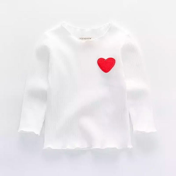 7fdf1ae0 Shirts & Tops | Nwt Baby Girl Cute Ribbed White Heart Shirt Top ...
